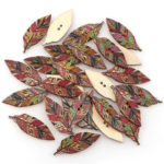 New              50PCS Retro Style Leaves Shaped Wooden Buttons Washable Sewing Buttons DIY Decor Handcraft Supplies