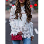 New              Long Sleeve Summer Hollow Out Lace Patch Blouse