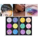 New              Popfeel 6Colors Diamond Powder Glitter Eye Powder Palette Sh