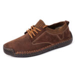 New              Menico Men Hand Stitching Suede Splicing Soft Casual Flats