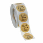New              500Pcs 25mm Thank You Stickers Roll Kraft Paper Round Commercial Label Tape