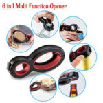 New              6 in 1 Can Opener Multi Purpose Screw Cap Bottle Openers Jar Lid Grip Kitchen Tool