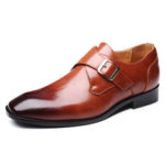 New              Men Buckle Square Toe Breathable Comfy Business Formal Shoes