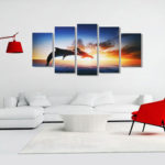 New              Dolphin Sunset Canvas Print Paintings Poster Wall Art Picture Home Decor Unframed