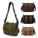 New              Outdoor Fashion Men's Vintage Canvas Leather Messenger Bag Satchel School Shoulder Bag Haversack 36cm*28cm*12cm