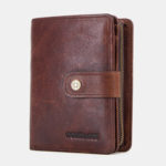 New              Men Genuine Leather Vintage Zipper Wallet Card Holder
