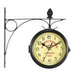 New              Retro Antique Double Side Wall Mount Clock Garden Hallway Outdoor Station for Office
