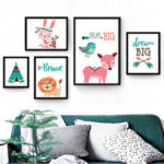 New              Nordic Frameless Cartoon Animal Bears Pink Deer Poster Wall Art Canvas Paintings Nursery Pictures For Baby Kids Room Decor