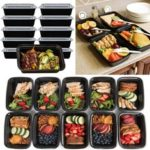 New              10pcs 16oz Meal Prep Containers Food Storage Reusable Microwavable Plastic Box Lunch Bags