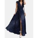 New              Polka Dots V-neck Short Sleeve Wrap Maxi Dress