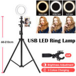 New              210CM Ring Light Stand Tripod LED Camera Light W/ Cell Phone Holder Lamp 3 MODE