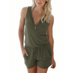 New              Women V-neck Zipper Sports Solid Color Casual Vest Jumpsuit