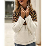 New              Casual Leopard Print Patchwork Long Sleeve Jumper Tops