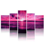 New              Purple Sea Sunset Modern Frameless HD Canvas Print Home Art Wall Picture Poster Wall Paintings