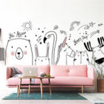 New              Nordic Style Zoo Bedroom Decoration Rabbit Unicorn Wall Sticker Removable DIY Living Room Wall Painting