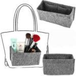 New              18x8x13cm Grey Felt Fabric Multi Pockets Handbag Organizer Storage Bag Hot