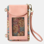 New              Women Bear Pattern 12 Card Slots Phone Purse Crossbody Bag