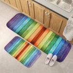 New              Home Decor Flannel Doormat 2 PCS/SET Non-slip Door Floor Rug Kitchen Bathroom Carpet Entrance Floor Mat
