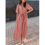New              Women Plaid Button V-neck Short Sleeve Casual Dress