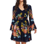 New              Bohemian Floral Print Long Sleeve Split Flowy Mini Dress