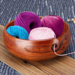 New              Natural Jujube Wooden Yarn Bowl Holder For Knitting Crochet Skeins Home Decorations