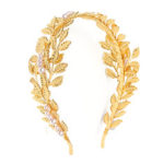 New              Retro Women Golden Leaves Pearl Headband Crown Wedding Party Hair Accessories Decorations