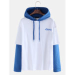 New              Mens Casual Patchwork Color Hooded Drawstring Sweatshirt