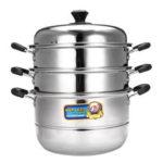 New              26/30/34cm 3 Tier Stainless Steel Steamer Steam Pot Cookware Glass Lids