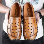 New              Cow Leather Breathable Hollow Out Hand Stitching Sandals