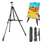 New              Easel Stand Artist Easels for Display Aluminum Metal Tripod Field Easel with Bag for Table-Top / Floor / Flip Charts Black Art Easels W/Adjustable Height 52-160CM for Back to School