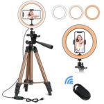 New              6/10 inch Selfie Ring Light + Tripod Stand + Phone Holder Photography YouTube Video Makeup Live Stream LED Camera Ring Light with Remote Shutter for iPhone Android