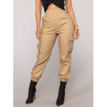 New              Solid Color High Elastic Waist Casual Harem Pants