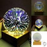 New              3D USB Magic Base Glass Ball Sphere Lightning Lamp Night Light Party Festival Firework