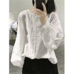New              Vintage Solid Color Long Sleeve Loose Casual Blouse
