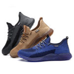 New              AtreGo Men Steel Toe Work Shoes Safety Trainers Anti-smash Shoes Mesh Breathable Casual Hiking Shoes