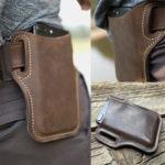 New              Men Vintage Casual Genuine Leather Phone Bag Waist Bag
