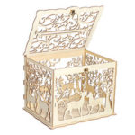New              Wooden Loving Deer Wedding Card Box Wedding Money Box Wooden Gift Case With Lock Wedding Birthday Party Anniversary Home