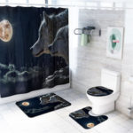 New              4 Pcs Wolf Bathroom Bath Mat Set Rugs Toilet Lid Cover Shower Curtain Waterproof