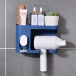 New              Multifunction Adhesive Hair Dryer Holder Bathroom Hair Blow Drier Holder with Hair Care Tools Storage Baskets
