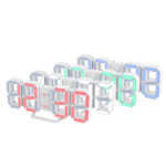 New              3D Alarm Clock LED Date Display Digital Temperature Snooze Table Wall Hanging