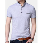 New              Mens Fashion Pure Color Short Sleeve Casual Tops