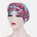 New              Women Flower Printing Turban Hat