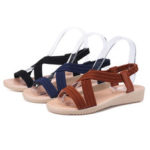 New              Women Cross Strap Open Toe Elastic Band Solid Flat Sandals