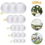 New              15Packs White Round Paper Lanterns with Assorted Sizes for Wedding Party Decorations