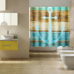New              Waterproof Rustic Wood Nautical Shower Curtain Bathroom Accessories with 12 Hooks