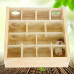 New              Wood Hamster Maze Toy With Glass Cover Hut House Cage Playground For Small Pet Toys