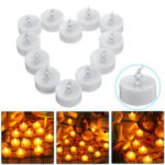 New              12PCS Battery Operated Flameless Timer Votive Candle Night Light Electric Flickering LED Tea Lamp