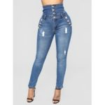 New              Women Casual Skinny High-Waisted Button Jeans