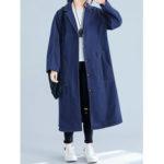 New              Plus Size Women Turn-down Collar Button Casual Long Coats