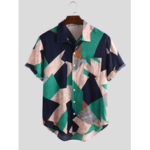 New              Mens Fashion Color Block Turn Down Collar Summer Shirts